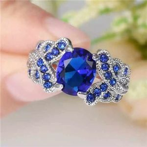 ❤️gorgeous Turkish sapphire white gold ring 6
